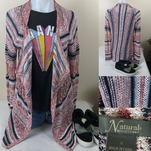 Natural Reflections Sweater Cardigan Tribal Print
